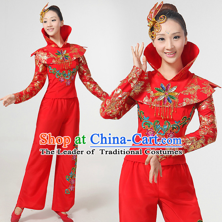 High Collar Chinese Festival Dance Costumes Ribbon Dancing Costume Dancewear China Dress Dance Wear and Hair Accessories Complete Set