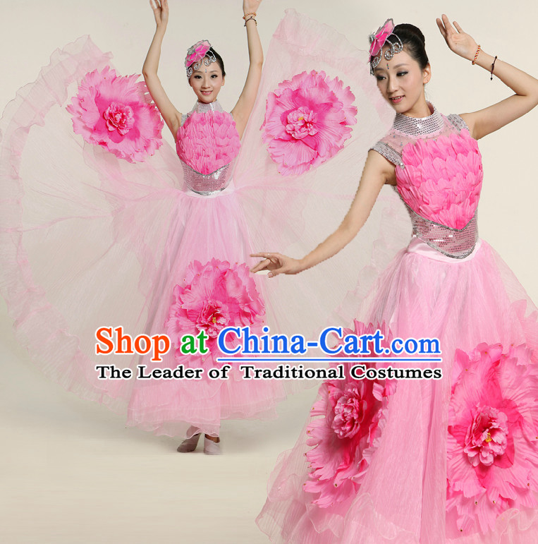 Asian Pink Flower Dance Costume Competition Costumes Dancewear China Dress Dance Wear and Headpieces Complete Set