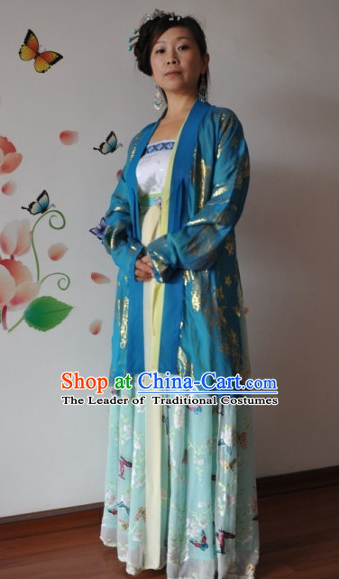 Chinese Classic Halloween Costume Hanfu Clothing Ancient Costume and Hair Jewelry online Shopping Complete Set