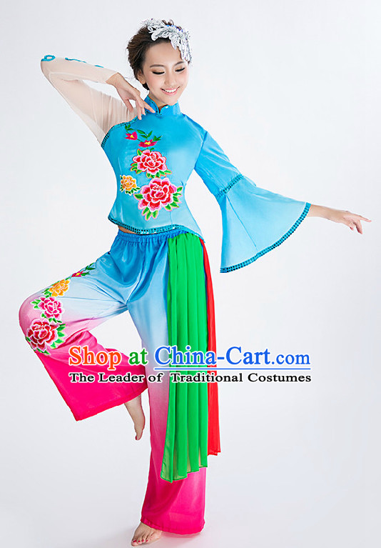 Chinese Fan Competition Dance Costume Group Dancing Costumes for Women