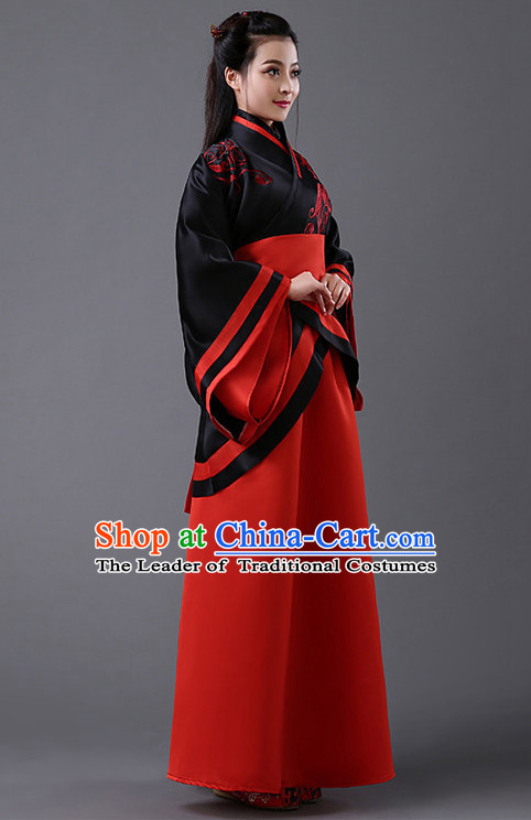 Black and Red Chinese Classic Hanfu Competition Dance Costume Group Dancing Costumes for Women