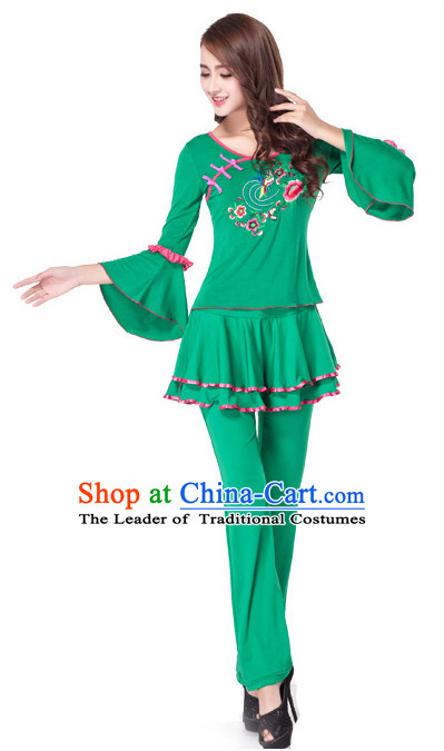 4a632431091c9 Green Chinese Style Fan Dance Costume Discount Dance Costume Ideas  Dancewear Supply Dance Wear Dance Clothes Suit