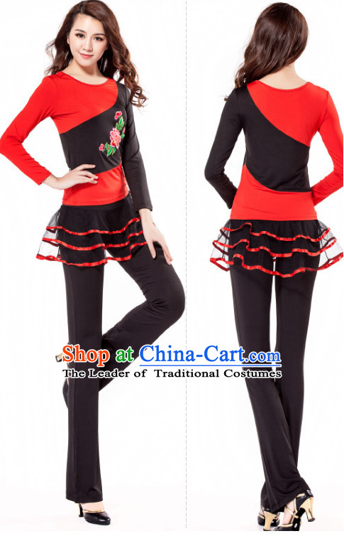 Red Black Chinese Style Modern Dance Costume Ideas Dancewear Supply Dance Wear Dance Clothes Suit