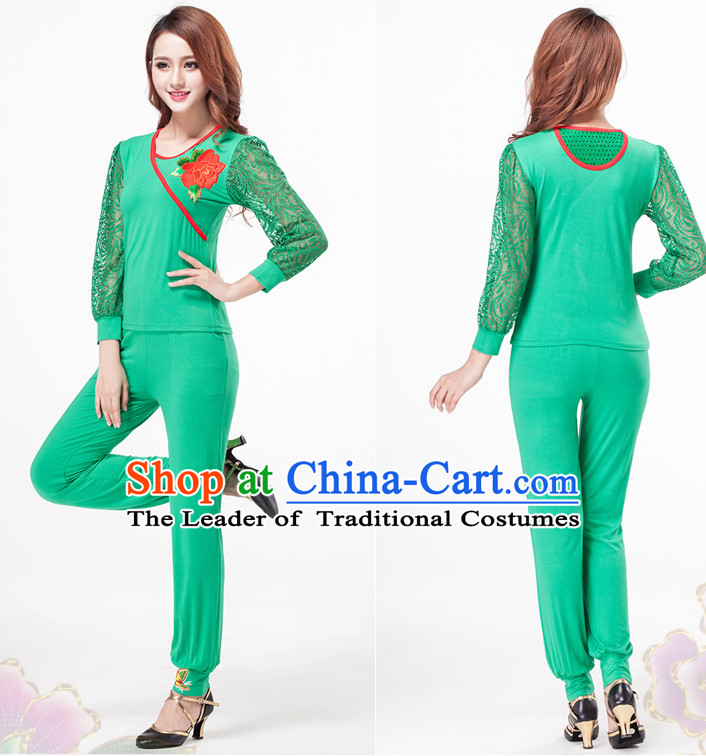Green China Style Modern Dance Costume Ideas Dancewear Supply Dance Wear Dance Clothes Suit