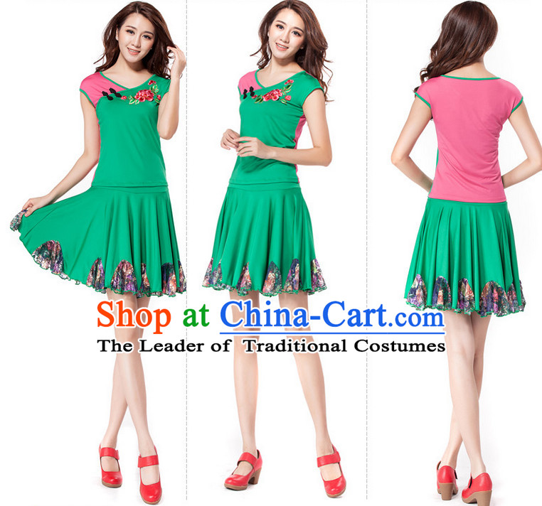 Green Chinese Style Parade Dance Costume Ideas Dancewear Supply Dance Wear Dance Clothes Suit
