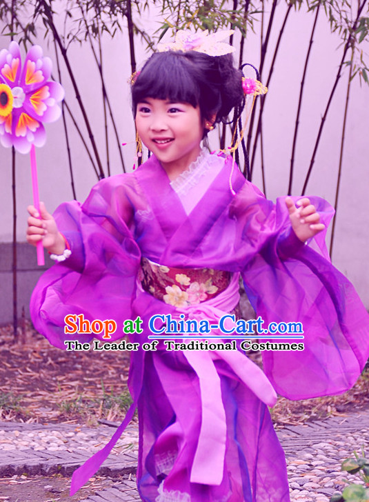 Chinese Princess Halloween Costumes for Kids Baby Hanfu Clothes Toddler Halloween Costume Kids Clothing and Hair Accessories Complete Set for Kids