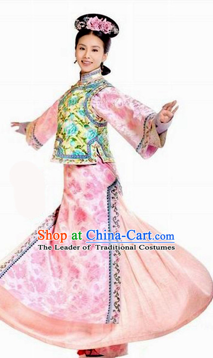 Chinese Qing Dynasty Princess Halloween Costumes Hanfu Clothes Halloween Costume Clothing and Hair Accessories Complete Set for Women