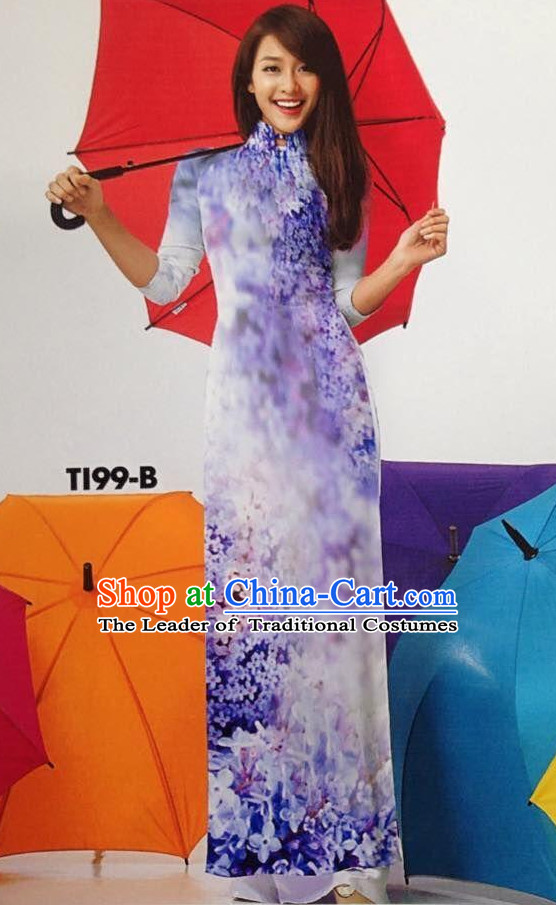 Flowery Viet Long Skirts for Women Ao Dai Dresses
