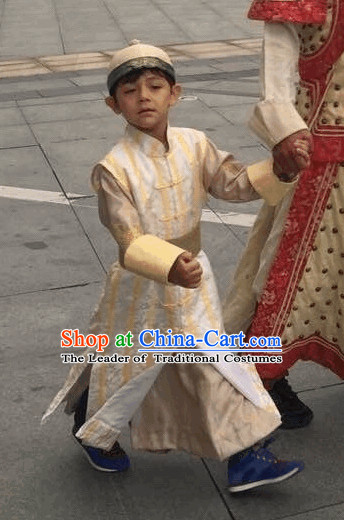 Qing Dynasty Nobleman Costume and Hat Complete Set for Kids