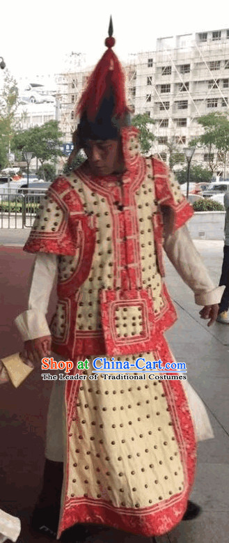 Qing Dynasty General Costume and Helmet Complete Set for Men