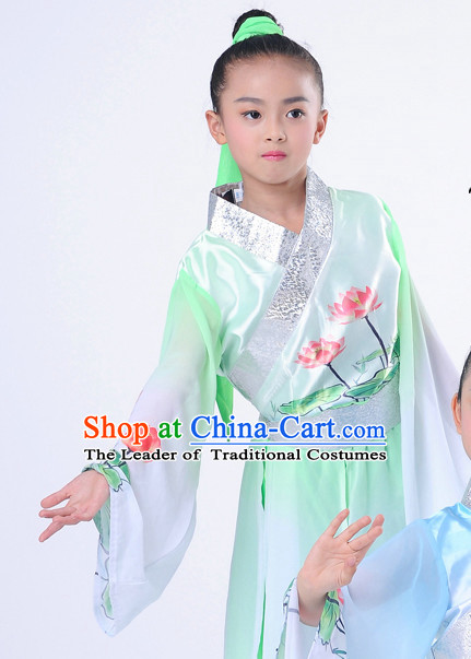 Chinese Classic Lotus Dancing Costumes Complete Set for Kids