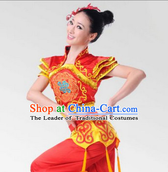 Chinese Stage Celebration Fan Dancewear Dancing Costume Complete Set for Women