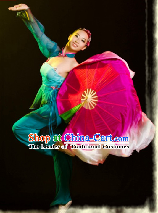 Chinese Folk Fan Dancing Outfits for Girls