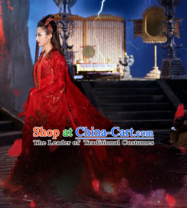 Hua Qian Gu Yao Shen Red  TV Drama Costumes and Hair Accessories Complete Set