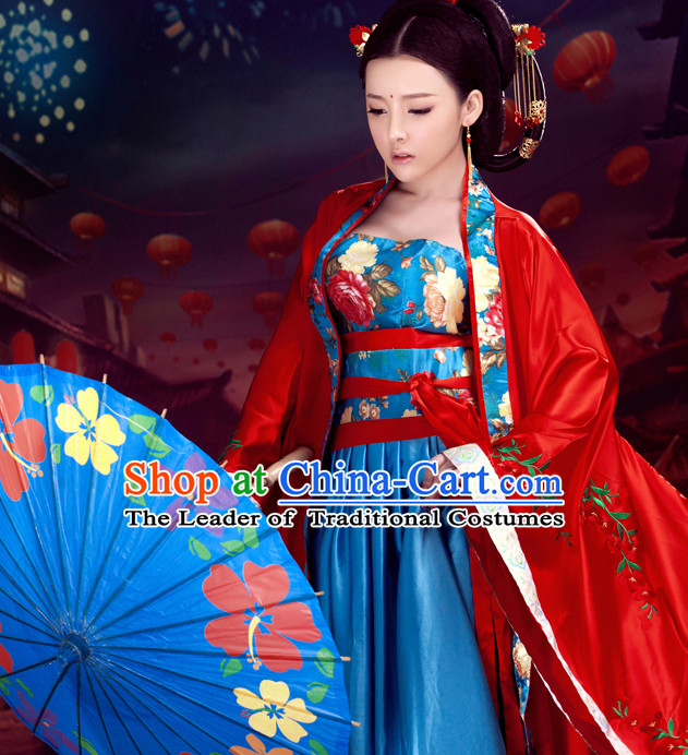 Red Beauty Ancient Hanfu Dress Complete Set for Women
