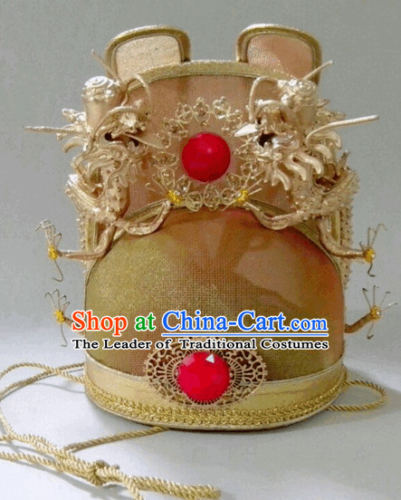 Ming Dynasty Emperor Dragon Crown Hat for Men