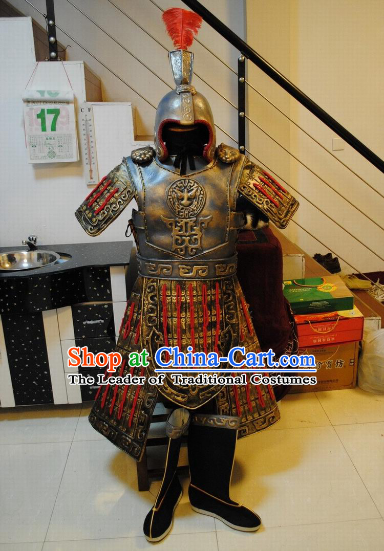 Ancient China Superhero Armor Outfits and Hat Complete Set for Men