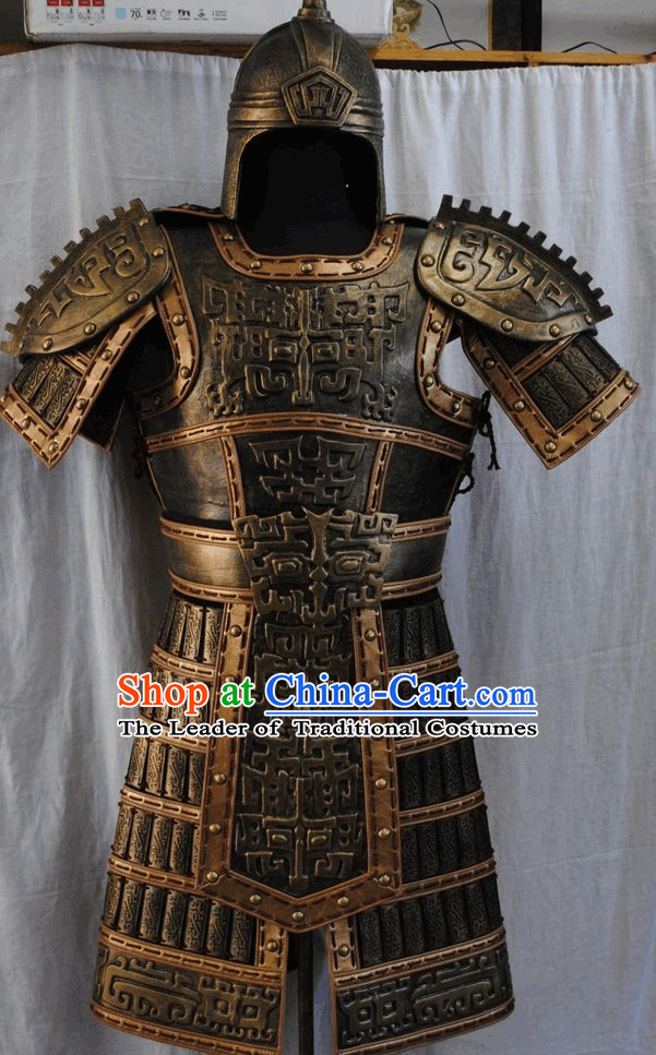 Chinese Ancient Armor Costumes and Hat Complete Set for Boys