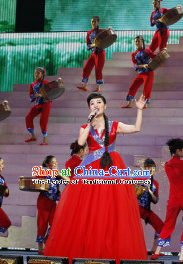 Lucky Red Chinese Style Singer Evening Dress for Women