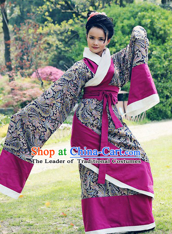 Chinese Classical Dancer Costumes and Headwear Complete Set for Women
