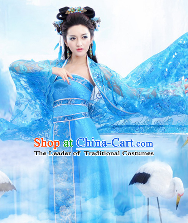 Blue Chinese Classic  Sexy Costume and Hair Jewelry Complete Set for Women