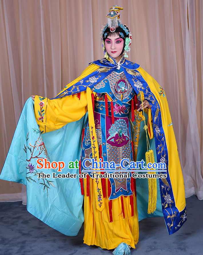Ancient Chinese Hua Dan Empress Opera Costumes and Hair Accessories Pieces Complete Set for Women
