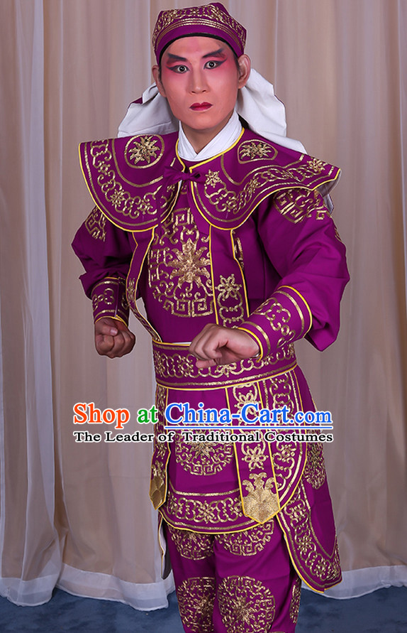 Ancient Chinese Beijing Opera Costumes Peking Opera Warrior Solider Costume and Hat Complete Set for Men