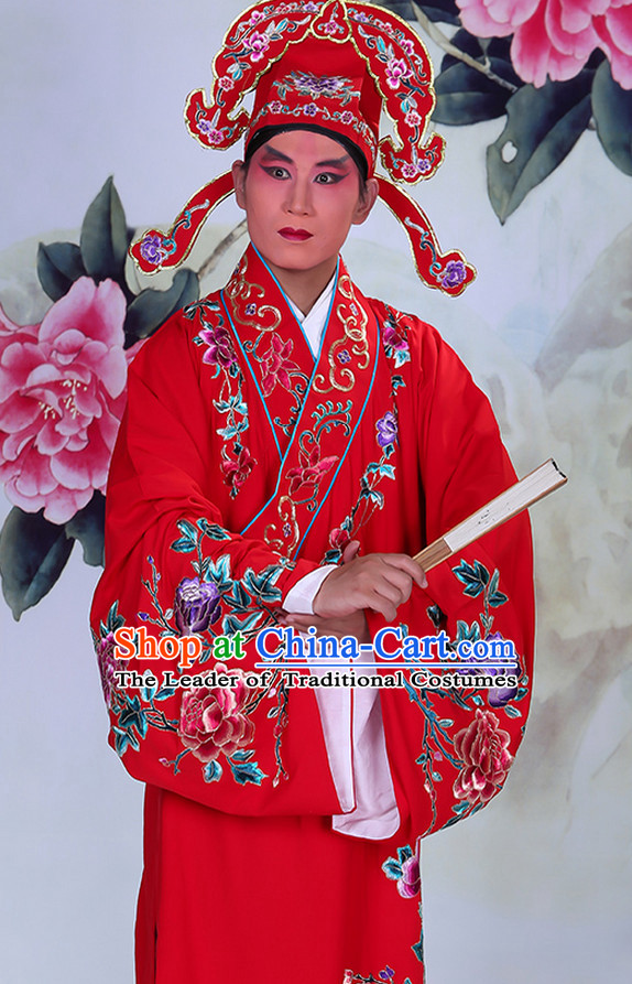 Ancient Chinese Beijing Opera Costumes Peking Opera Husband Young Scholar Costume and Hat Complete Set for Men