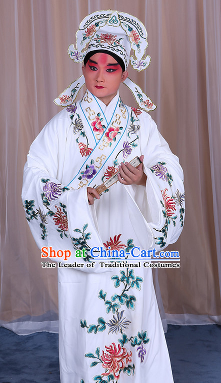 Ancient Chinese Beijing Opera Costumes Peking Opera Husband Young Scholar Costume and Hat Complete Set for Men Boys Adults Kids