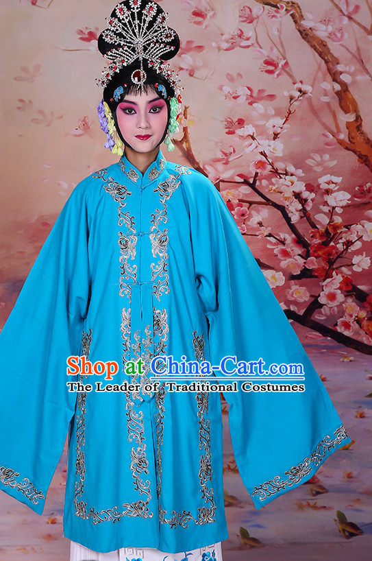 Blue Ancient Chinese Beijing Opera Costumes Peking Opera Young Women Costume for Women Girls Adults Kids
