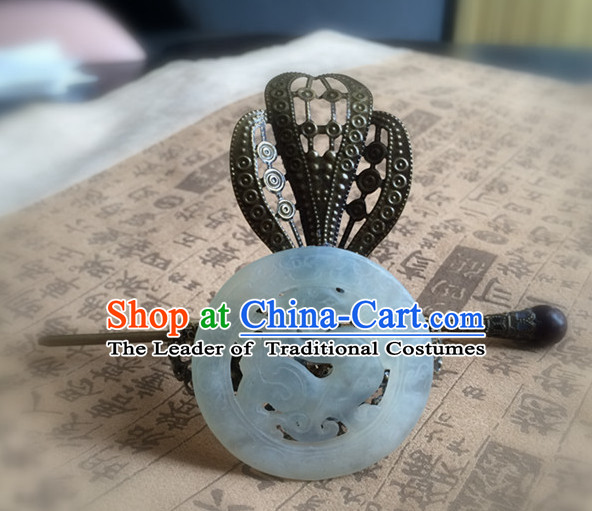 Ancient Chinese Poet  Handmade Jade Headwear Head Pieces for Men