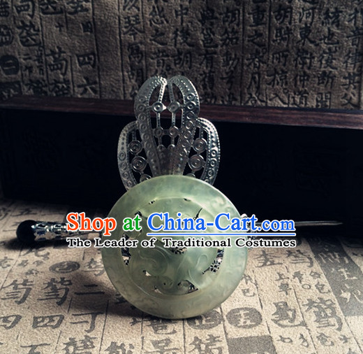 Silver Ancient Chinese Poet  Handmade Jade Headwear Head Pieces for Men