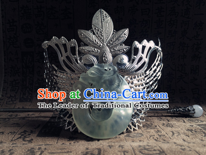 Silver Ancient Chinese Poet  Handmade Jade Headwear Head Pieces Coronet Crown for Men