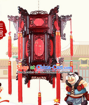 Red Chinese New Year Festival Celebration Handmade Natural Wood Palace Lantern