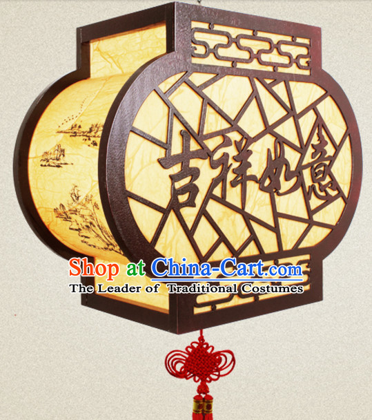 Chinese New Year Ancient Handmade Natural Wood Palace Lantern