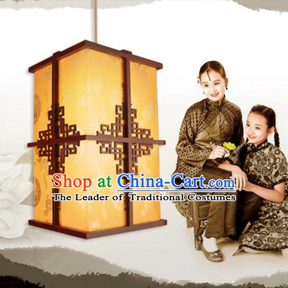 Chinese Handmade and Carved Natural Wood Hanging Lantern