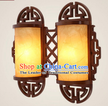 Chinese Ancient Handmade and Carved Natural Wood Wall Lantern