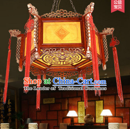 Chinese Classical Handmade and Carved Natural Wood Hanging Palace Lantern