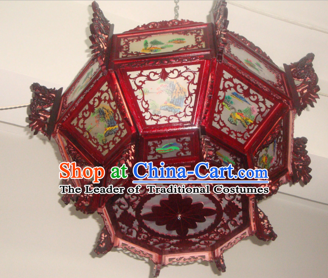 Chinese Classical Handmade and Carved Octagonal Dragon Hanging Palace Lantern