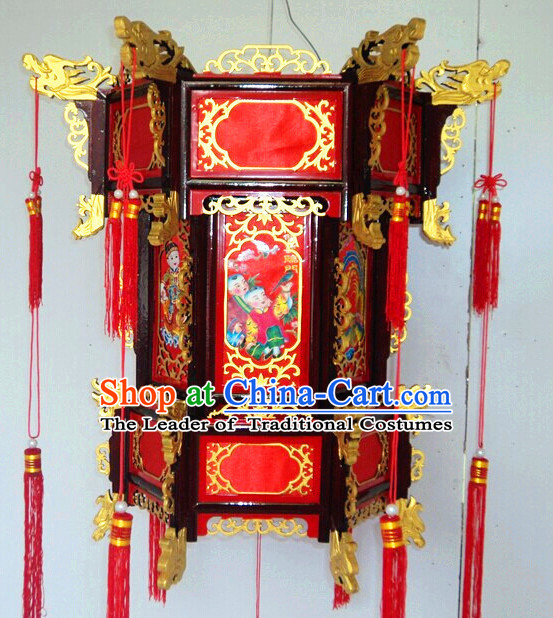 Three Layers Red Gold Chinese Classical Hanging Palace Lantern