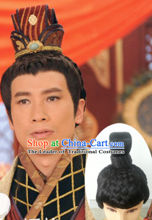 Chinese Ancient Emperor Prince Black Male Hairstyle Long Wigs