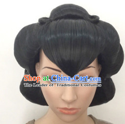 Chinese Classic Minguo Hairstyle Female Black Long Wigs