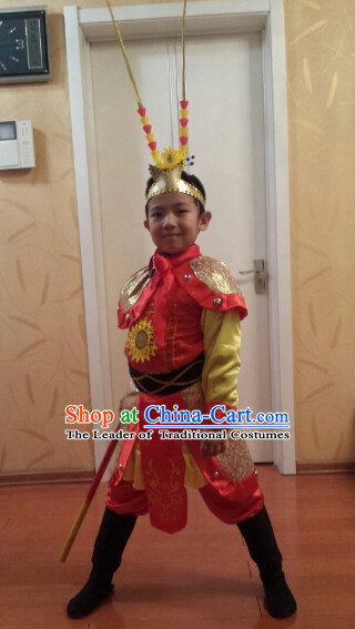 Chinese Lunar Monkey Year Sun Wukong Monkey King Costumes Complete Set for Kids or Adults