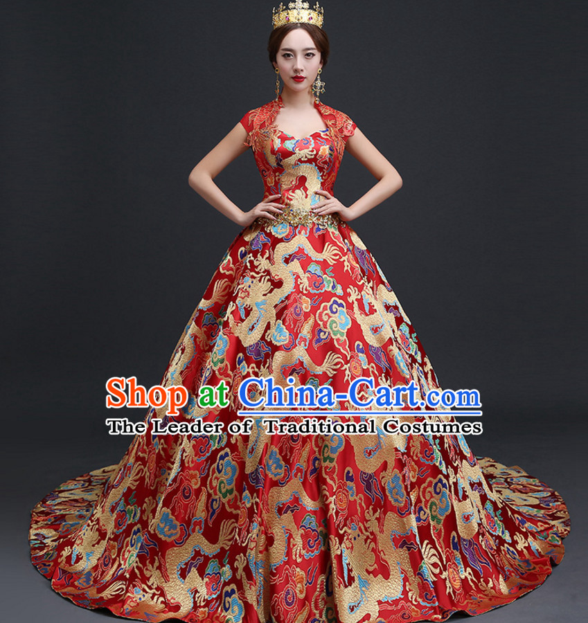 Red Chinese Ancient Wedding Dresses and Headwear Complete Sets for ...