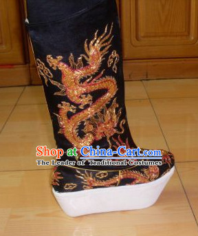 Ancient Chinese Handmade Black Emperor Dragon Embroidery Boots Shoes