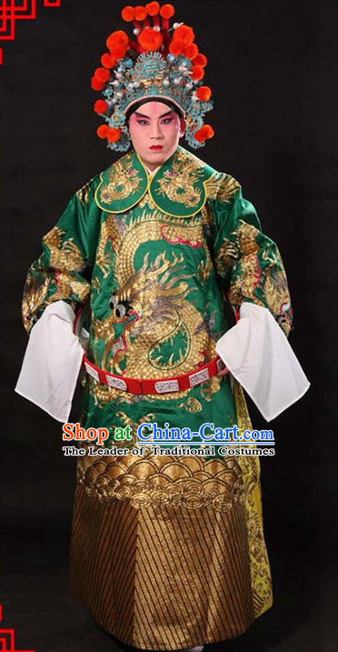 Green Ancient Chinese Embroidered Dragon Opera Clothing and Helmet Complete Set for Men