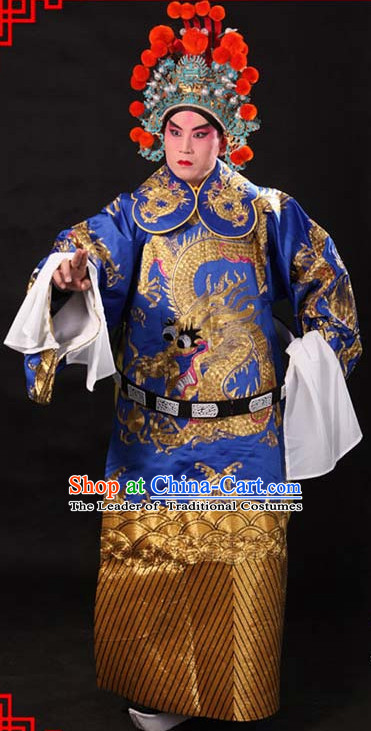 Blue Ancient Chinese Embroidered Dragon Opera Clothing and Helmet Complete Set for Men