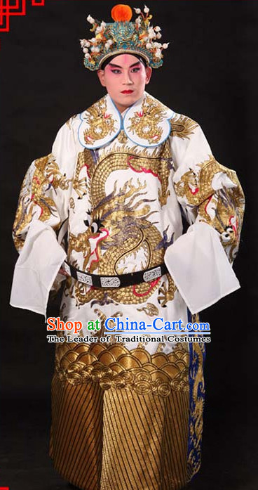 Whtie Ancient Chinese Embroidered Dragon Opera Clothing and Helmet Complete Set for Men