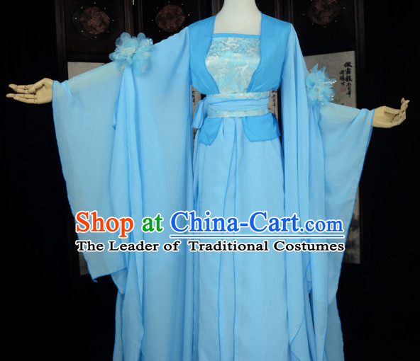 Blue Traditional Chinese Classical Fairy Costumes Complete Set for Women or Girls