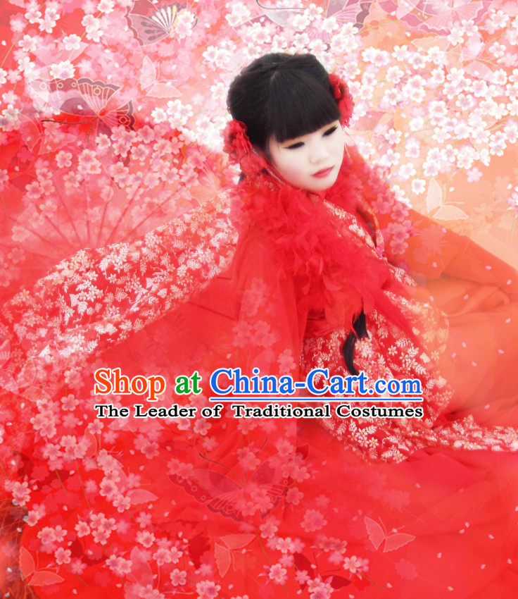 Red Traditional Chinese Classical Princess Hanfu Clothes Complete Set with Long Tail